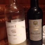 デザートワインとシェリー。前者はCarmes de Rieussec Sauternes 2008、後者はAlexander Gordon Sherry Pedro Ximenez。日干ししたぶどうから作られる、粘度のある極甘口。