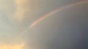 まだ梅雨が明けていなかった頃、夕方出た虹。空を見ると、色々な思いが去来する。