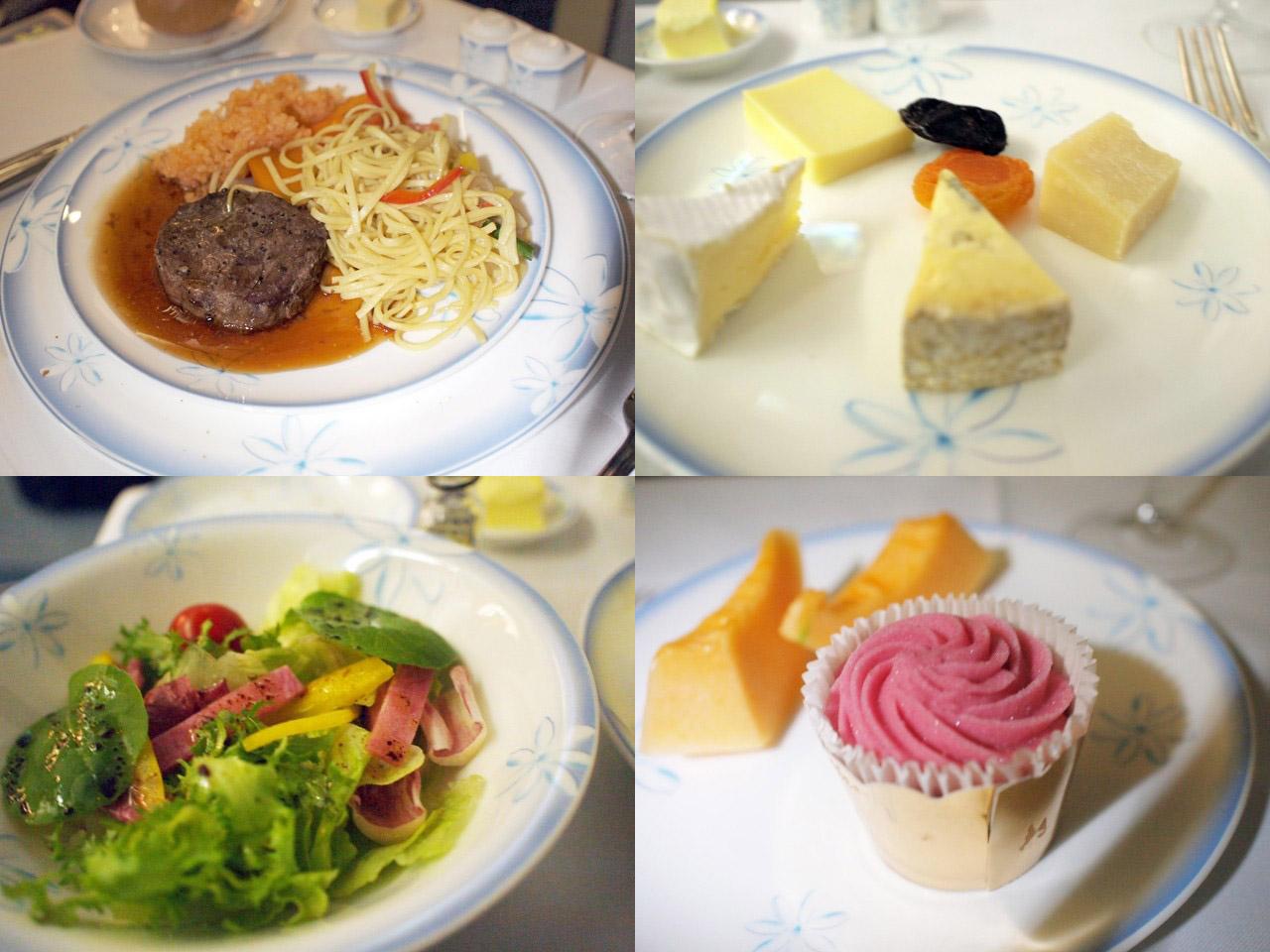 フィレ、チーズアソート、サラダ、デザート