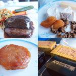 帰りの便。鴨の胸肉、チーズ、タルトタタン、食事を終えて読書中に出してもらったフォションのクレープとチョコレートとコーヒー。