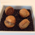 アミューズは豚肉のリエットのシュー詰めと黒ゴマ風味のサブレ。黒ゴマを敷き詰めた器で出されて香りがよい。