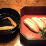 寿司と吸い物。吸い物も上品でちゃんとしていた。