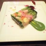 野菜とイベリコ豚のハムのゼリー寄せ。