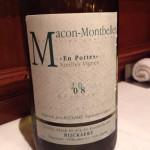 Jean Rijckaert Macon-Montbellet Vieilles Vignes 2008。先ほどのとはまったく違った深い味わいの、少しブランデーをも思わせるような白ワイン。続くフォアグラとぴったり。