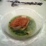 斜里沖欣喜(キンキ)のグリエ真狩産百合根と貝(真つぶ、あさり、帆立、蝦夷鮑)のバジル風味フリカッセ和え。ちょっといろいろ取り合わせすぎ?