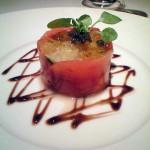 追加で頼んだ「カラフル小野菜と小海老、帆立貝、烏賊のマリネに完熟のトマトゼリー。」これはOK。