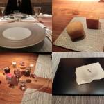 その他かいつまんで紹介。左上から時計回りに、スターティングのテーブルセット、パン、口直しの豆腐のラビオリ風、コーヒーとともに供される小菓子。