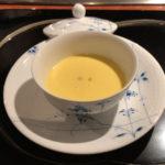 とうもろこしの冷たいスープ。夏の味わい。